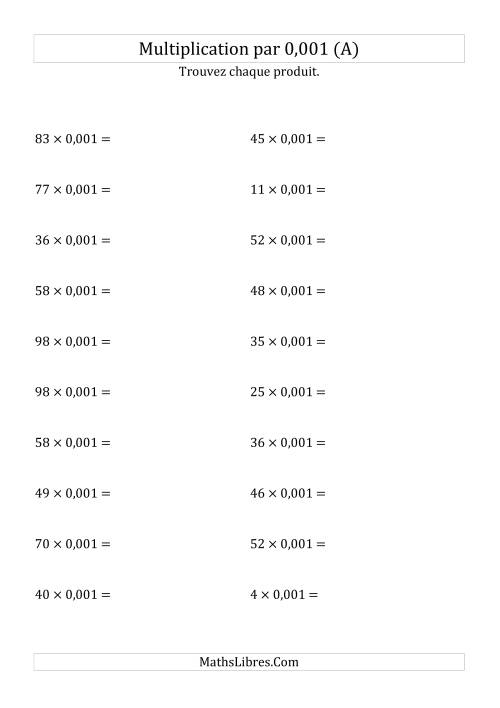 La Multiplication de nombres entiers par 0,001 (A) Fiche d'Exercices sur les Puissances de Dix
