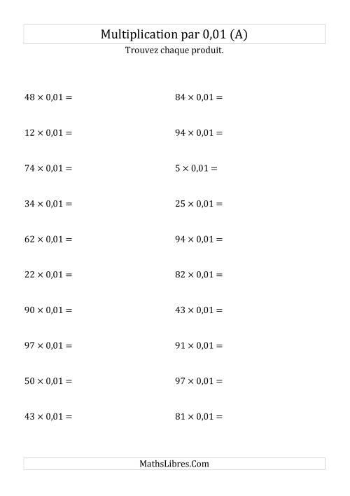La Multiplication de nombres entiers par 0,01 (A) Fiche d'Exercices sur les Puissances de Dix