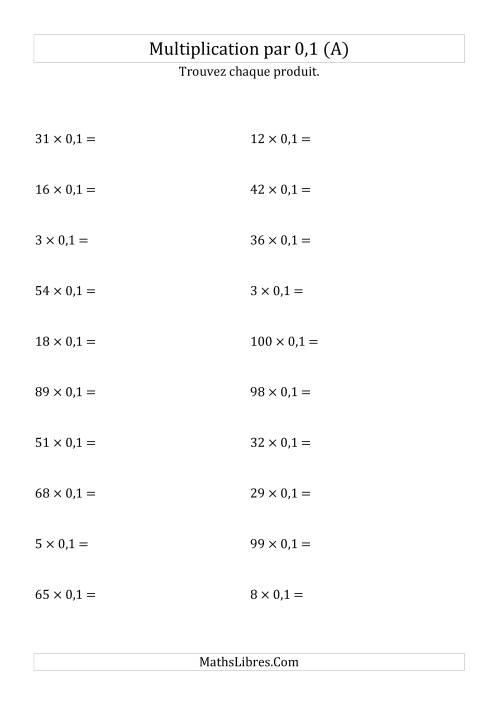 La Multiplication de nombres entiers par 0,1 (A) Fiche d'Exercices sur les Puissances de Dix