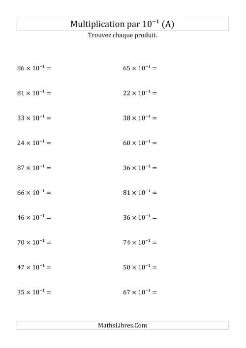 La Multiplication de nombres entiers par 10⁻¹ (A) Fiche d'Exercices sur les Puissances de Dix