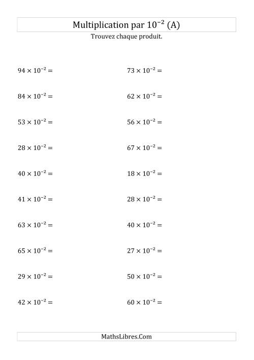 La Multiplication de nombres entiers par 10⁻² (A) Fiche d'Exercices sur les Puissances de Dix