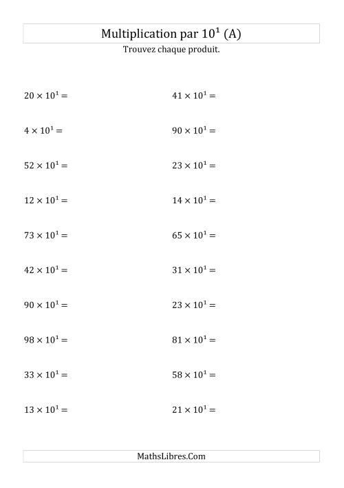 La Multiplication de nombres entiers par 10¹ (A) Fiche d'Exercices sur les Puissances de Dix