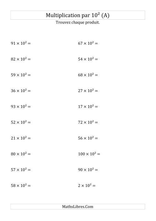 La Multiplication de nombres entiers par 10² (A) Fiche d'Exercices sur les Puissances de Dix