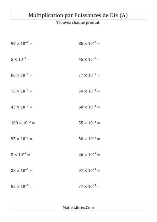 La Multiplication de nombres entiers par puissances négatives (A) Fiche d'Exercices sur les Puissances de Dix
