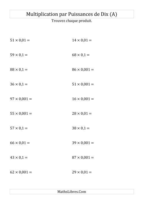 La Multiplication de nombres entiers par puissances négatives de dix (forme standard) (A) Fiche d'Exercices sur les Puissances de Dix