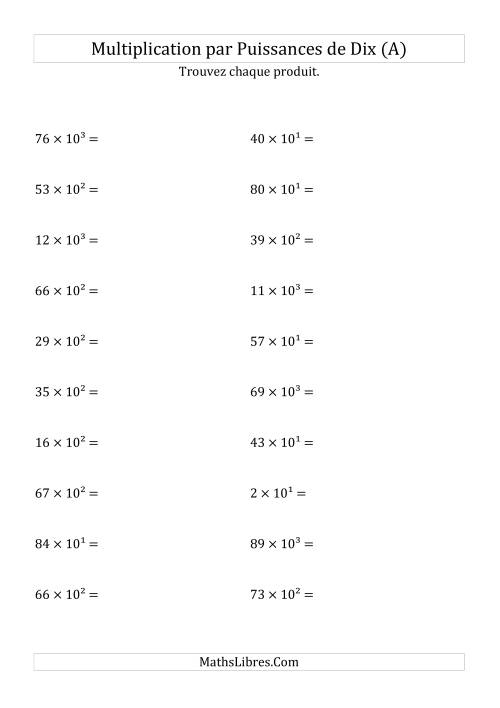 La Multiplication de nombres entiers par puissances positives (A) Fiche d'Exercices sur les Puissances de Dix