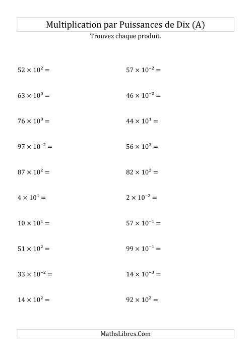 La Multiplication de nombres entiers par puissances de dix (A) Fiche d'Exercices sur les Puissances de Dix