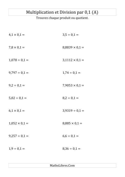 La Multiplication et division de nombres décimaux par 0,1 (A) Fiche d'Exercices sur les Puissances de Dix