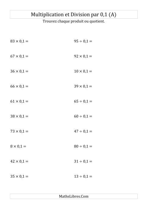 La Multiplication et division de nombres entiers par 0,1 (A) Fiche d'Exercices sur les Puissances de Dix