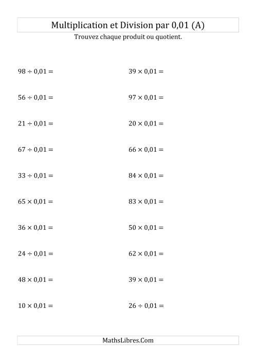 La Multiplication et division de nombres entiers par 0,01 (A) Fiche d'Exercices sur les Puissances de Dix
