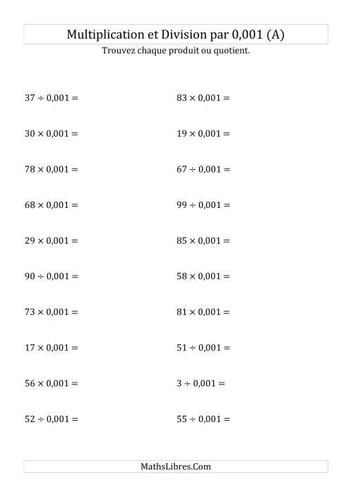La Multiplication et division de nombres entiers par 0,001 (A) Fiche d'Exercices sur les Puissances de Dix
