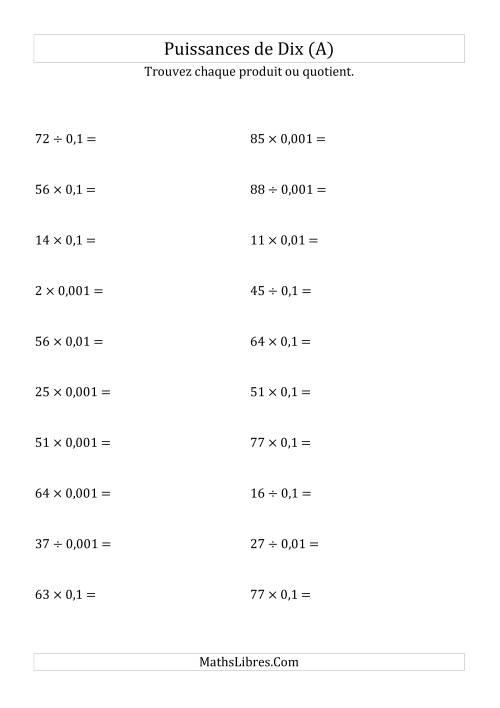 La Multiplication et division de nombres entiers par puissances négatives de dix (forme standard) (A) Fiche d'Exercices sur les Puissances de Dix