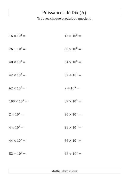 La Multiplication et division de nombres entiers par puissances positives de dix (forme exposant) (A) Fiche d'Exercices sur les Puissances de Dix