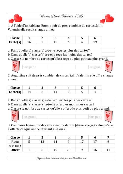 La Classez/Placez en Ordre les Cartes Saint Valentin en Nombres de 1 à 20 (A) Fiche d'Exercices de Maths pour la Saint Valentin