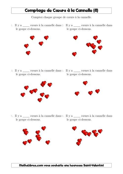 La Comptage Jusqu'à 10 Cœurs à la Cannelle Arrangés en Forme Dispersée (A) Fiche d'Exercices pour la Saint Valentin