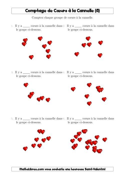 La Comptage Jusqu'à 20 Cœurs à la Cannelle Arrangés en Forme Dispersée (A) Fiche d'Exercices pour la Saint Valentin