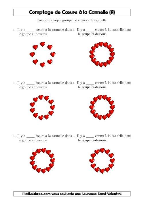La Comptage de Cœurs à la Cannelle Arrangés en Forme Circulaire (A) Fiche d'Exercices pour la Saint Valentin