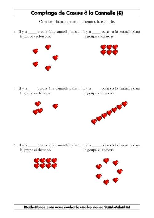 La Comptage de Cœurs de Cannelle Arrangés en Formes Diverses (A) Fiche d'Exercices pour la Saint Valentin