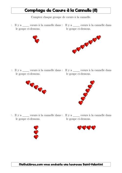 La Comptage de Cœurs à la Cannelle Arrangés en Forme Linéaire (A) Fiche d'Exercices pour la Saint Valentin