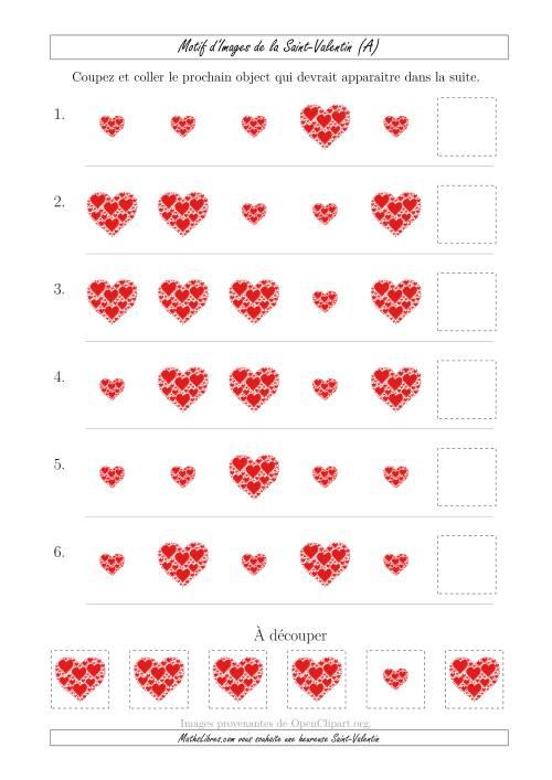 La Motif d'Images de la Saint Valentin avec la Taille  Comme Attribut Seulement (A) Fiche d'Exercices pour la Saint Valentin