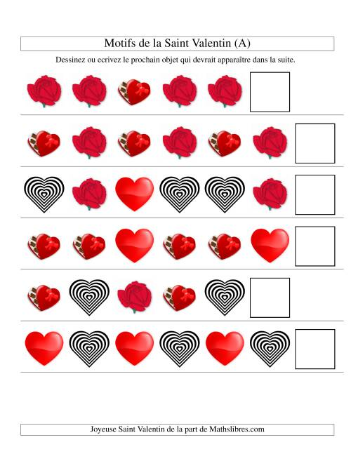 La Motifs de la Saint Valentin avec Une Seule Particularité (forme) (A) Fiche d'Exercices de Maths pour la Saint Valentin