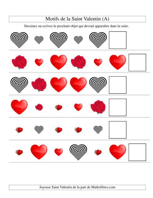 La Motifs de la Saint Valentin avec Deux Particularités (forme & taille) (A) Fiche d'Exercices de Maths pour la Saint Valentin