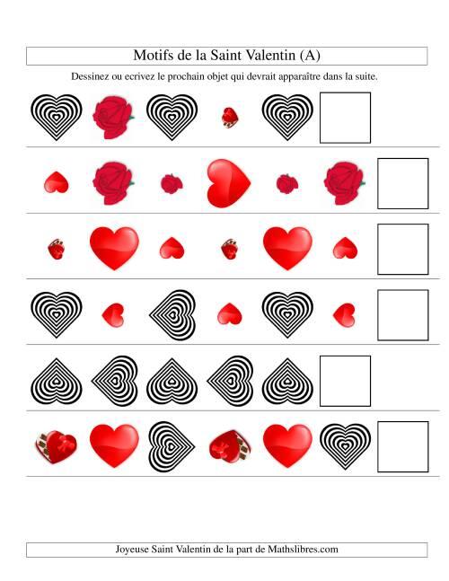 La Motifs de la Saint Valentin avec Trois Particularités (forme, taille & rotation) (A) Fiche d'Exercices de Maths pour la Saint Valentin