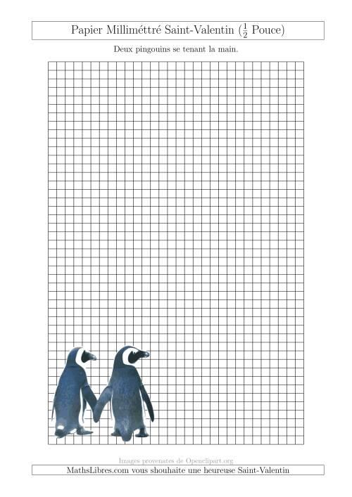 La Papier Milliméttré avec Deux Pingouins (1/2 Pouce) (A) Fiche d'Exercices pour la Saint Valentin