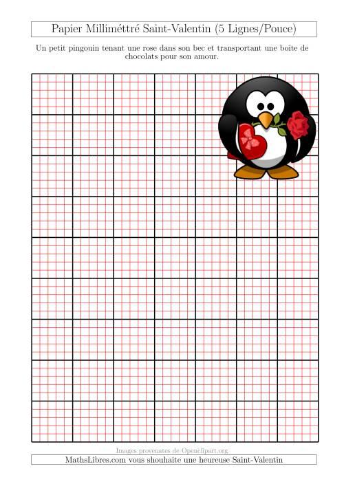 La Papier Milliméttré avec Une Petite Grirafe (5 Lignes/Pouce) (A) Fiche d'Exercices pour la Saint Valentin