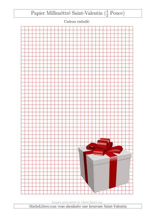 La Papier Milliméttré avec Un Cadeau Emballé (1/2 Pouce) (A) Fiche d'Exercices pour la Saint Valentin