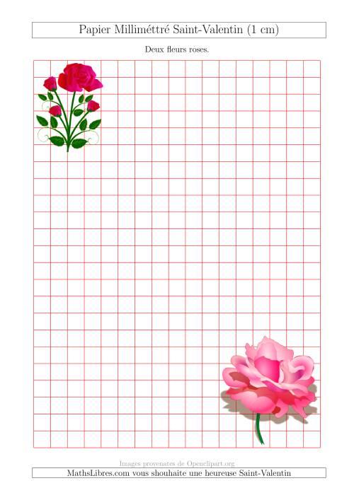 La Papier Milliméttré avec des Nounours (1 cm) (A) Fiche d'Exercices pour la Saint Valentin