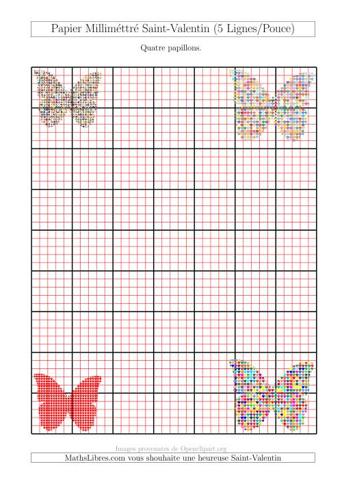 La Papier Milliméttré avec Quatres Papillons (2,5/0,5 cm) (A) Fiche d'Exercices pour la Saint Valentin