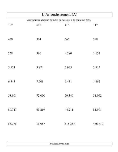 La Arrondir un nombre au 100 près (version EU) (A) Fiche d'Exercices sur le Sens des Nombres