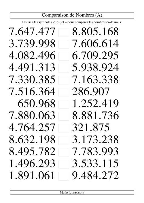 La Comparaisons des chiffres jusqu'à 10.000.000 (version EU) (A) Fiche d'Exercices sur le Sens des Nombres