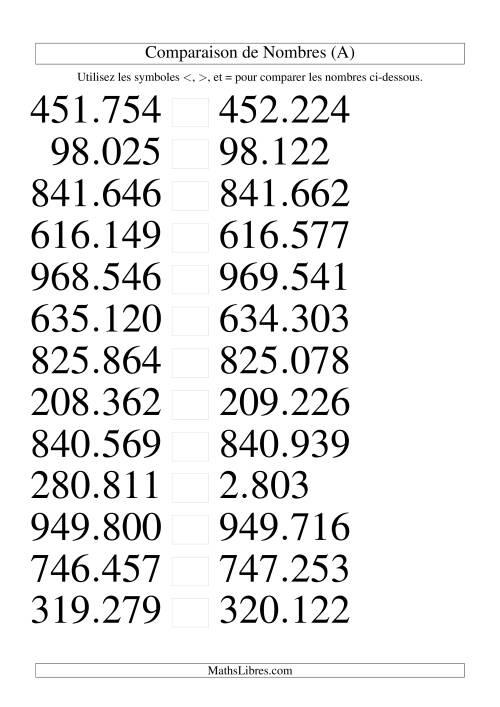 La Comparaisons des chiffres jusqu'à 1.000.000 rapprochés (version EU) (A) Fiche d'Exercices sur le Sens des Nombres