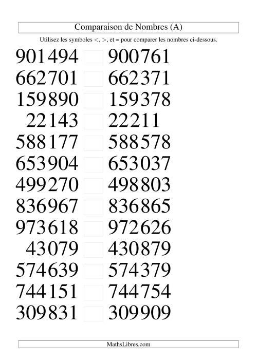La Comparaisons des chiffres jusqu'à 1 000 000 rapprochés (version SI) (A) Fiche d'Exercices sur le Sens des Nombres
