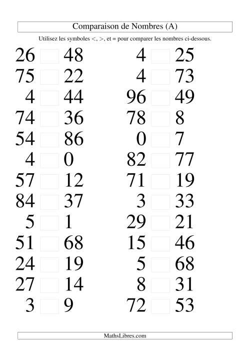 La Comparaisons des chiffres jusqu'à 100 (A) Fiche d'Exercices sur le Sens des Nombres