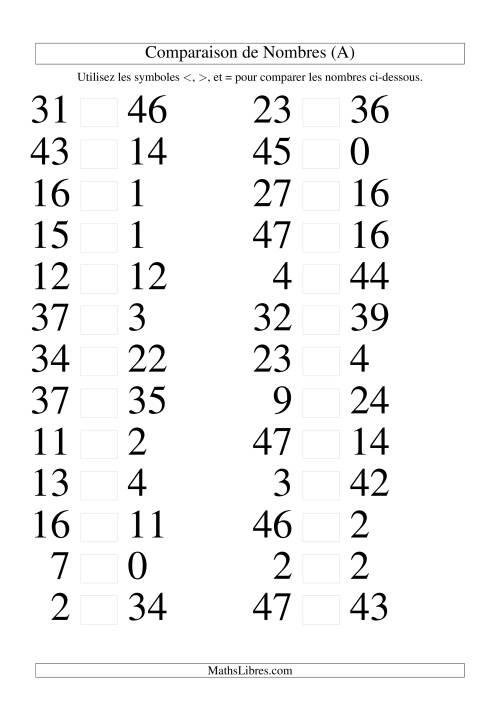 La Comparaisons des chiffres jusqu'à 50 (A) Fiche d'Exercices sur le Sens des Nombres