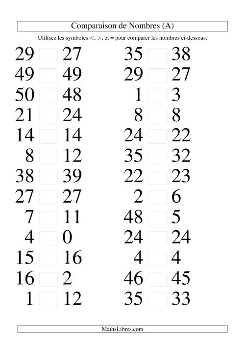 La Comparaisons des chiffres jusqu'à 50 rapprochés (A) Fiche d'Exercices sur le Sens des Nombres