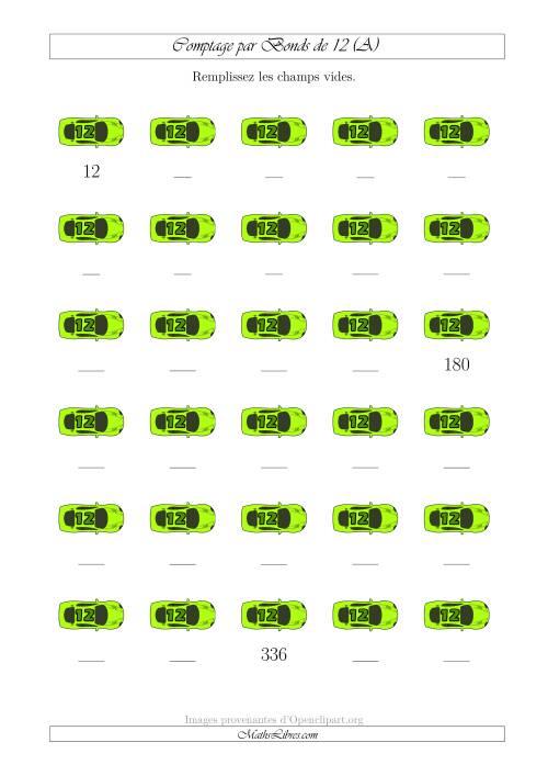 La Comptage par Bonds de 12 avec des Voitures (A) Fiche d'Exercices sur le Sens des Nombres