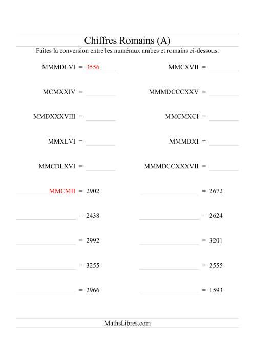 La Conversion de chiffres romains jusqu'à 3999 (format standard) (A) Fiche d'Exercices sur le Sens des Nombres