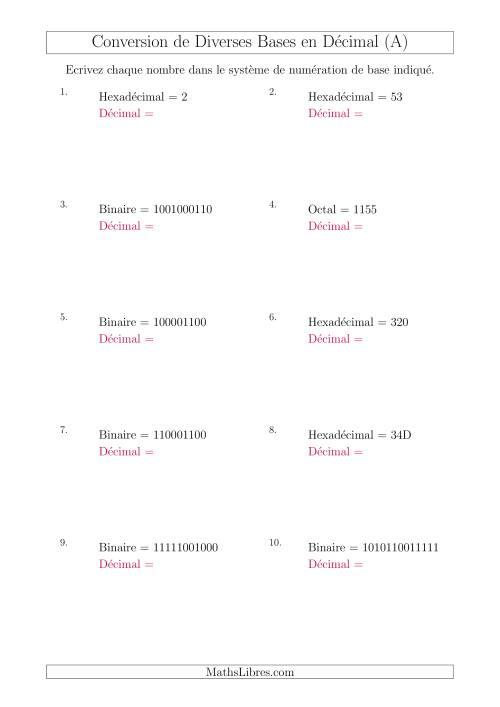La Conversion de Divers Systèmes de Numération de Base en Nombres Décimaux (A) Fiche d'Exercices sur le Sens des Nombres