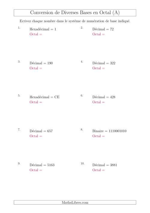 La Conversion de Divers Systèmes de Numération de Base en Nombres Octaux (A) Fiche d'Exercices sur le Sens des Nombres