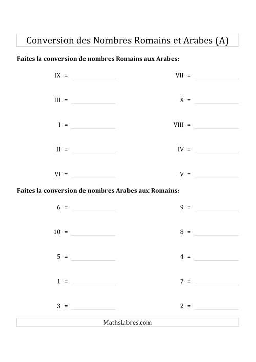 La Conversion des Nombres Romains et Arabes Jusqu'à X (Format Compact) (A) Fiche d'Exercices sur le Sens des Nombres