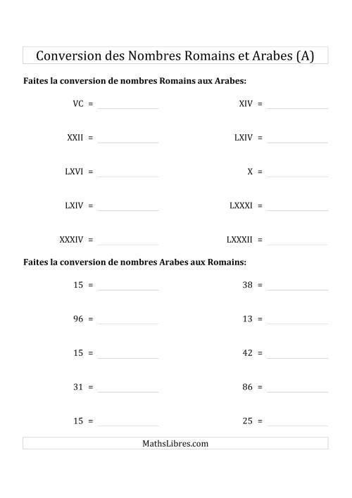 La Conversion des Nombres Romains et Arabes Jusqu'à C (Format Compact) (A) Fiche d'Exercices sur le Sens des Nombres