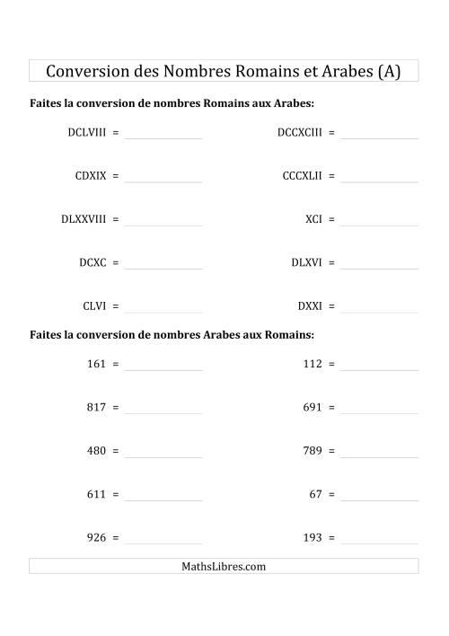 La Conversion des Nombres Romains et Arabes Jusqu'à M (Format Compact) (A) Fiche d'Exercices sur le Sens des Nombres