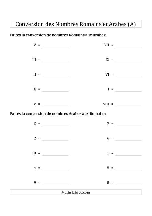 La Conversion des Nombres Romains et Arabes Jusqu'à X (Format Standard) (A) Fiche d'Exercices sur le Sens des Nombres