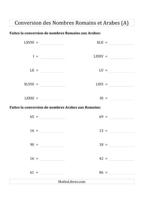 La Conversion des Nombres Romains et Arabes Jusqu'à C (Format Standard) (A) Fiche d'Exercices sur le Sens des Nombres