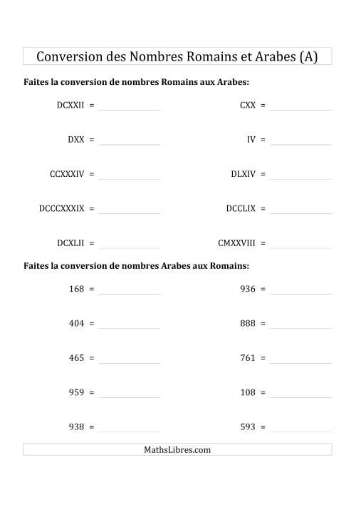 La Conversion des Nombres Romains et Arabes Jusqu'à M (Format Standard) (A) Fiche d'Exercices sur le Sens des Nombres
