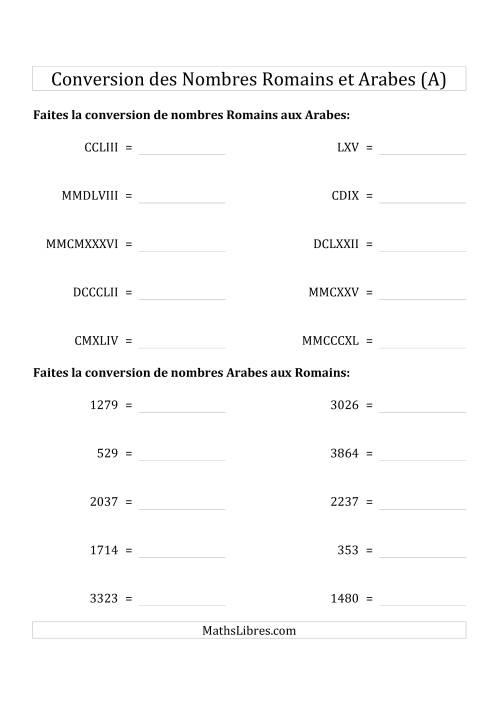 La Conversion des Nombres Romains et Arabes Jusqu'à MMMCMXCIX (Format Standard) (A) Fiche d'Exercices sur le Sens des Nombres